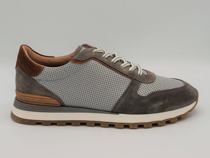 Giorgio Sneaker 87517-Piombo Leer met Suede